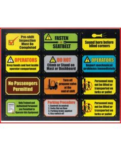 Lift Truck Safety Stickers Sheet 1
